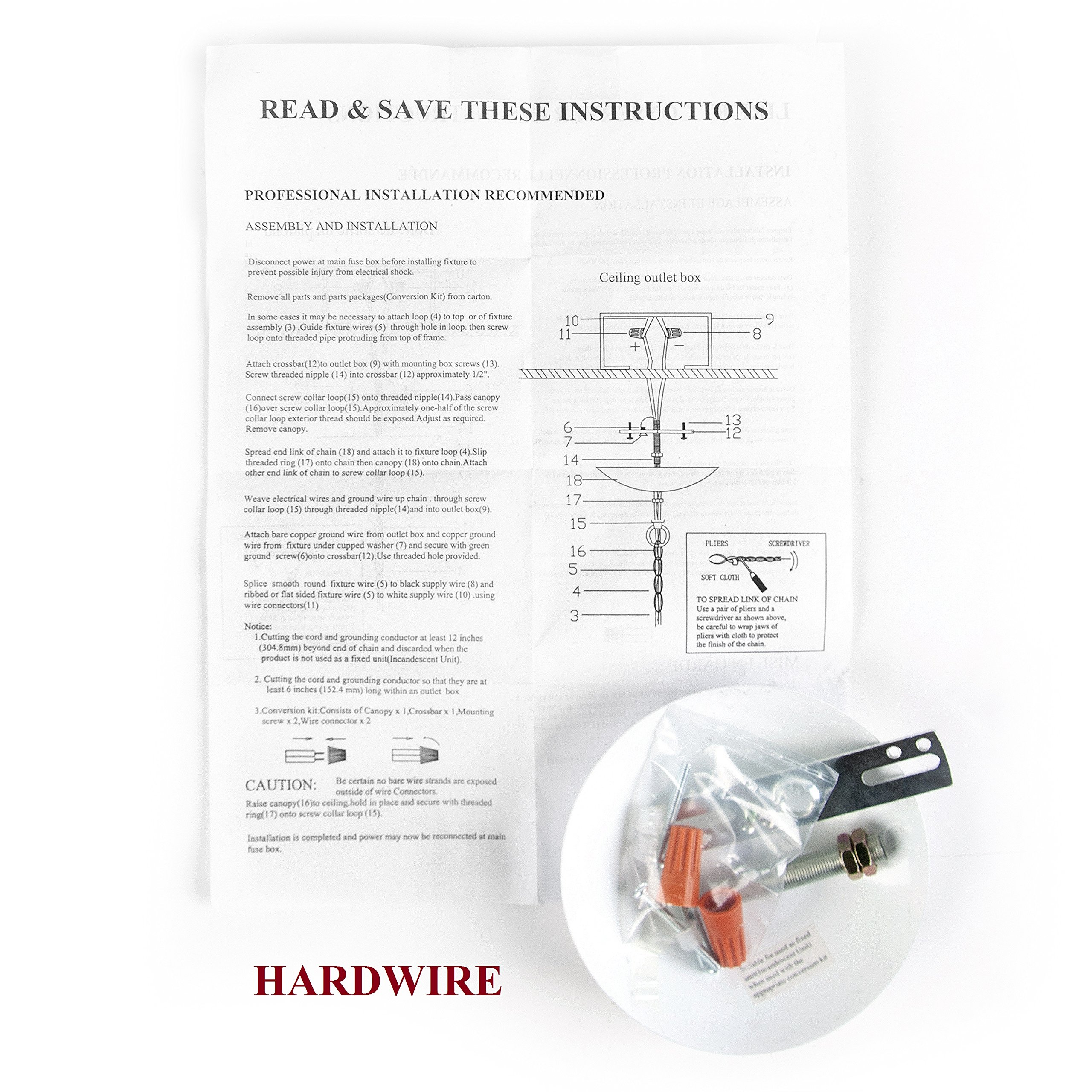 Tadpoles 4-Bulb Vintage Plug-In or Hardwired Mini-Chandelier, White Diamond by Tadpoles (Image #6)