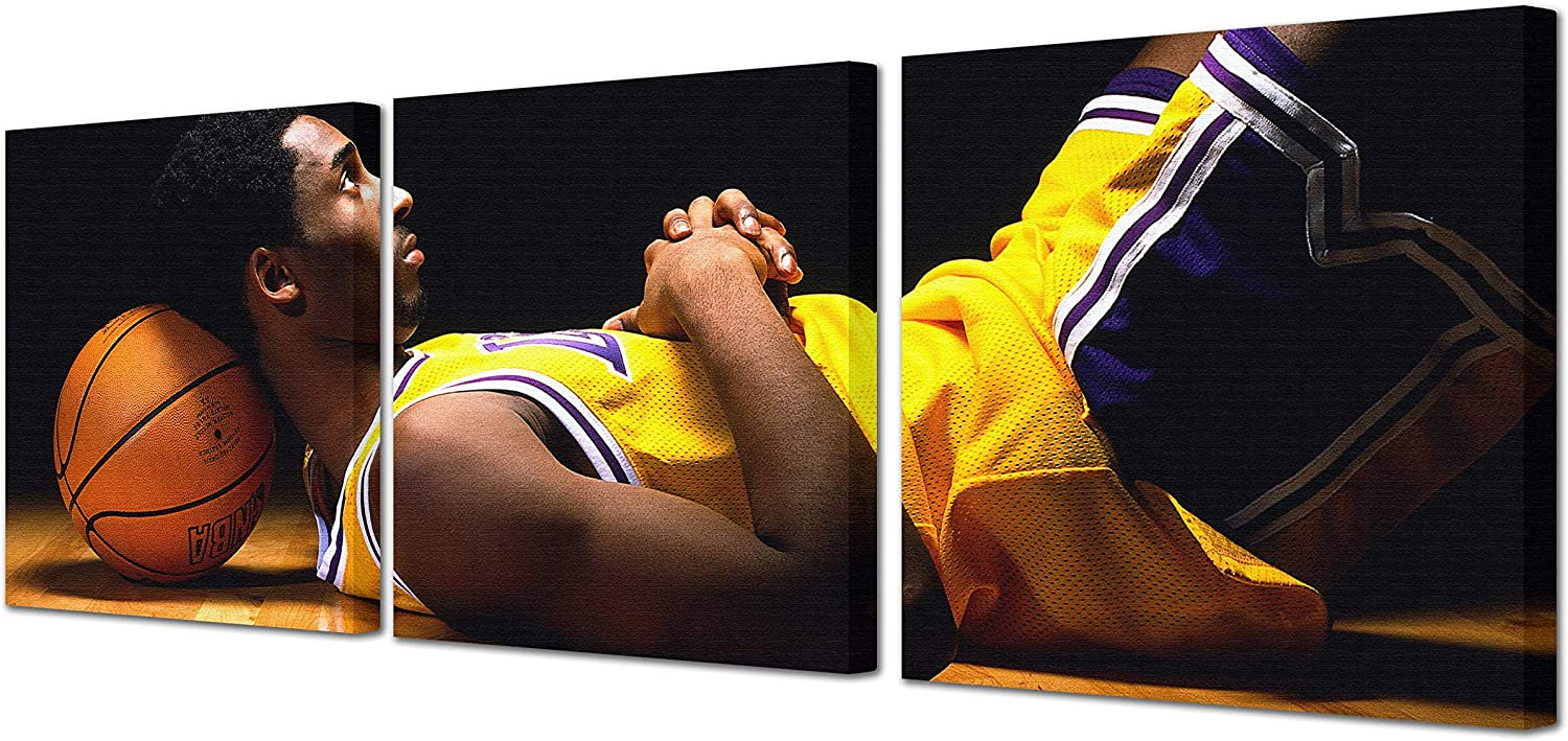 Kobe Bryant Black & Yellow Wall Decor Pictures Prints on Canvas 3 Panel Basketball Fans Gift Modern Artwork for Home Walls NBA Posters for Bedroom & Dorm Wooden Framed Ready to Hang(60''Wx20''H)