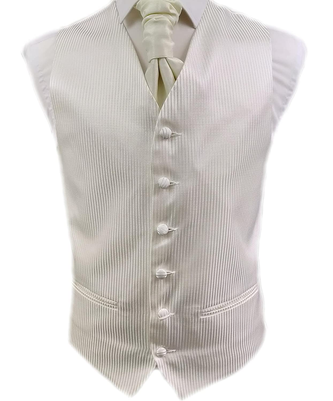 DressCode Mens Waistcoat, Gents Formal Wedding Waistcoat Ivory Cream Stripes