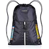 Premium Quality 5 Pocket Waterproof Unisex Gym sack Drawstring Bag Swimming Bag School PE Sackpack Backpack Gym Bag Small Sports Rucksack w/ High reflective buckle strap, walking ,Hiking Bag suitable for Adults and kids