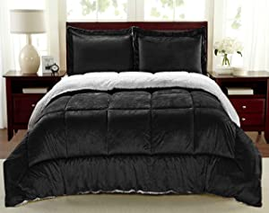 Cathay Home Fashions Reversible Faux Fur and Sherpa 3 Piece Comforter Set, Queen, Black