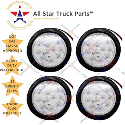"""[ALL STAR TRUCK PARTS] 4"""" Inch White 12 LED Round Stop/Turn/Tail/Reverse/Backup Trailer Truck Flatbed RV Camper Bus Light Kit with 3 wire Pigtail Plug & Grommet (White, 4): Automotive"""
