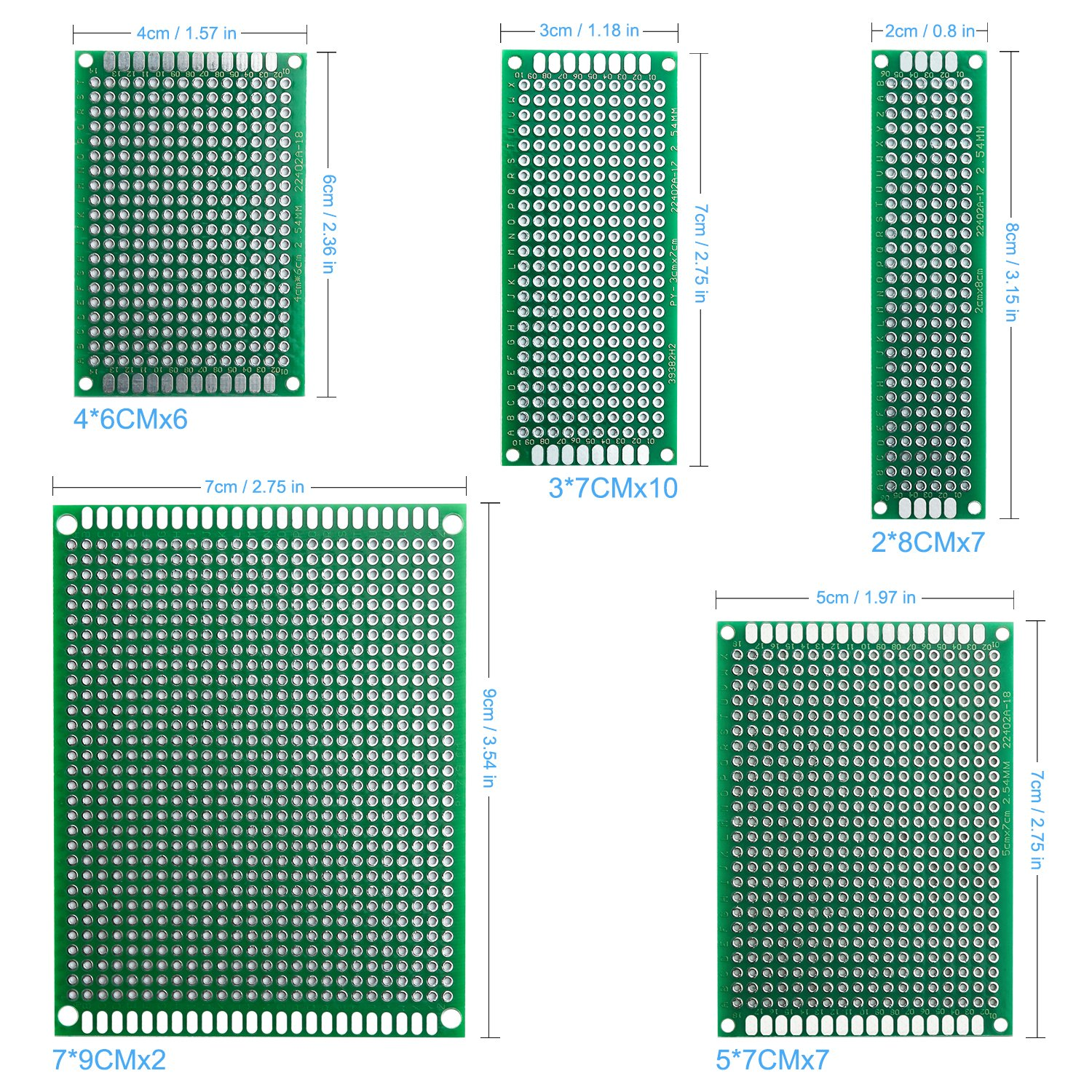 Elegoo 32 Pcs Double Sided Pcb Board Prototype Kit For Diy Soldering 10 50mmx70mm Single Side Copper Cover Circuit Stripboard With 5 Sizes Compatible Arduino Kits Tools Home Improvement