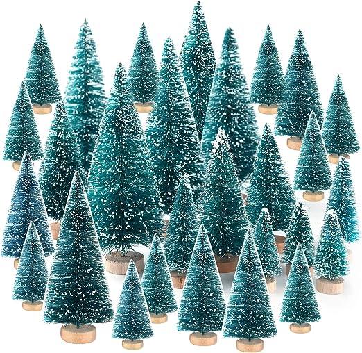 TUPARKA 48 Unids Mini Sisal Árboles de Navidad Botella Cepillo ...