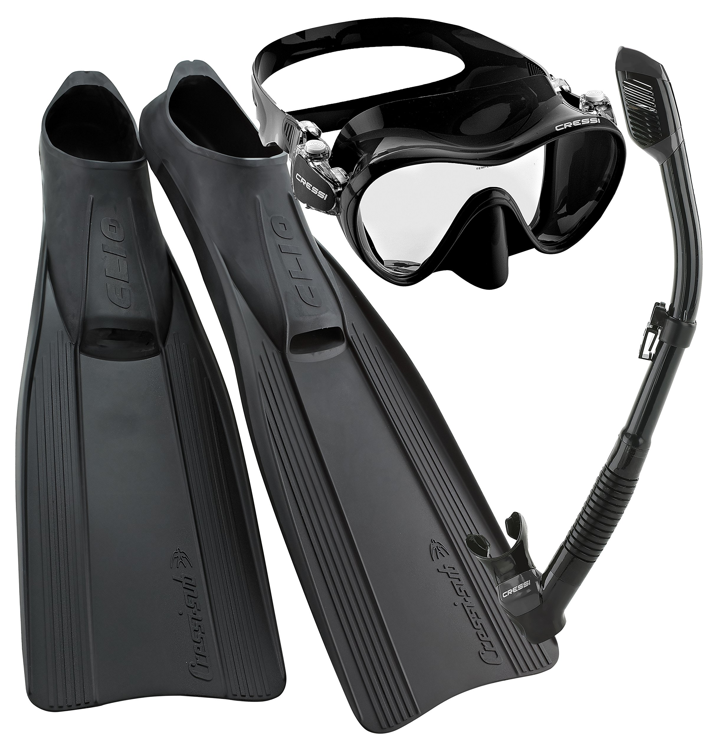 Cressi Clio Full Foot Fin Frameless Mask Dry Snorkel Set with Carry Bag, Black, Size 10/11-Size 45/46 by Cressi