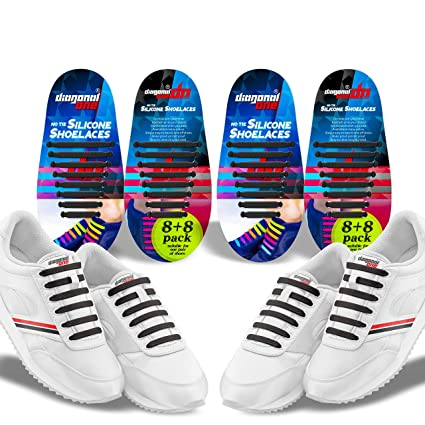 5c5706ba52464 Diagonal One No Tie Shoelaces – 2 Pack. Slip On Tieless Elastic Silicone  Shoe Laces for Kids Adults & Seniors. Great for Sneakers and Casual Footwear