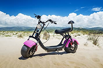 Citycoco Scooter Moto Eléctrica Harley 1000W Bluetooth Biplaza 25-35km/h (Naranja)