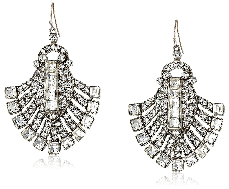 "Ben-Amun Jewelry ""Deco"" Silver-Tone Crystal Drop Earrings"