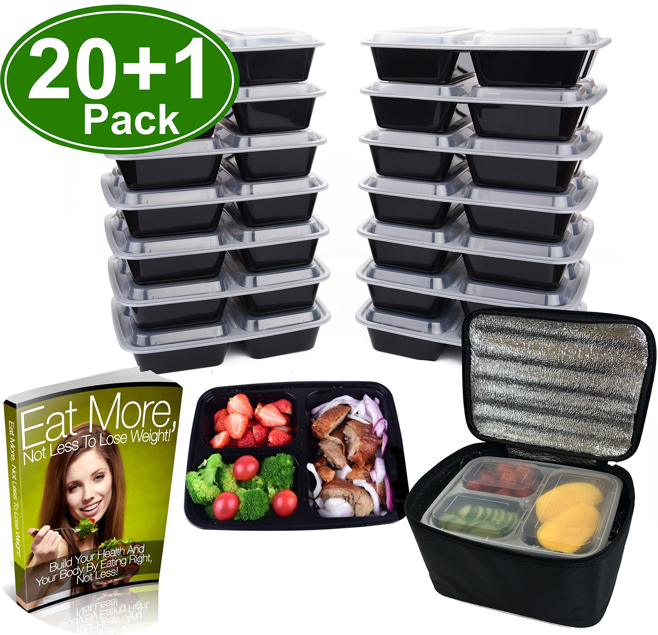Meal Prep Containers 3 Compartment [20 Pack], w/Bonus Lunch Bag, BPA Free, Freezer, Microwave, Upper Dishwasher Safe, Reusable Bento Boxes, Lunch Boxes, Lunch Containers(32 oz)