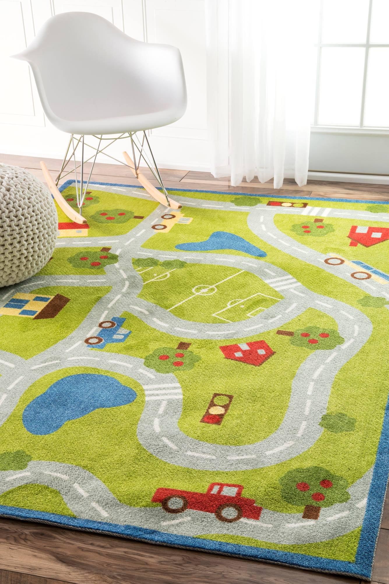 nuLOOM Nursery Country Road Trip Kids Area Rugs, 5' x 8', Green