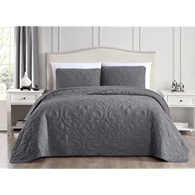 SuperBeddings Tesla Pre-Washed Embroidered Bamboo Bedspread Coverlet Set, Made from 65% Rayon Derived from Bamboo, 35% Brushed Microfiber (Charcoal Grey, Full/Queen)