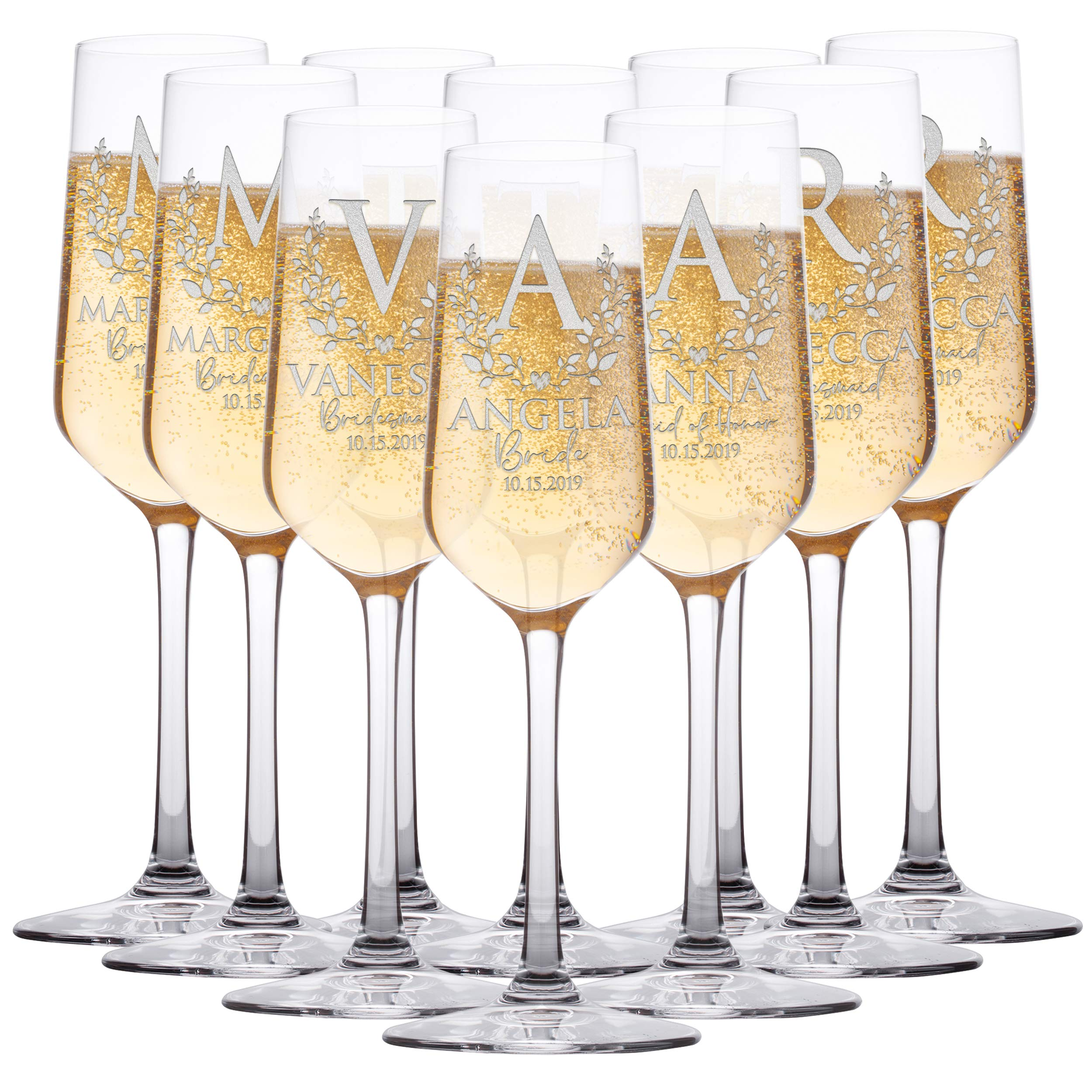 Personalized Bridesmaid Champagne Flutes, Bridal Party, Customized Gifts for Bridesmaids, Maid of Honor w Gift Box Option | 10 Piece
