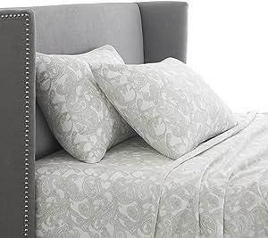 Pinzon 170 Gram Flannel Cotton Bed Sheet Set, King, Sage Paisley