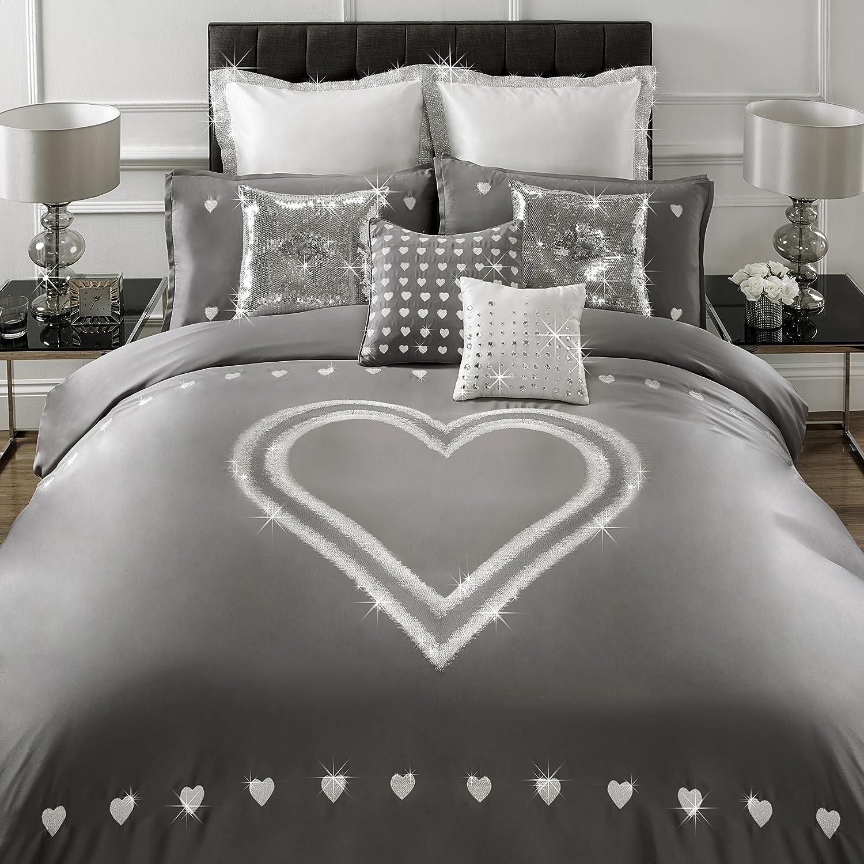 By Caprice Home Krystle Super King Bettwäsche mit Stickerei Herz Lurex, silber silbergrau lackiert