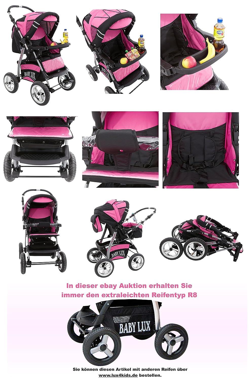 Lux4Kids King - Cochecito de bebé con kit de seguridad (silla para coche y base Isofix, protector para lluvia, mosquitera, bandeja para bebidas, colchón, ...