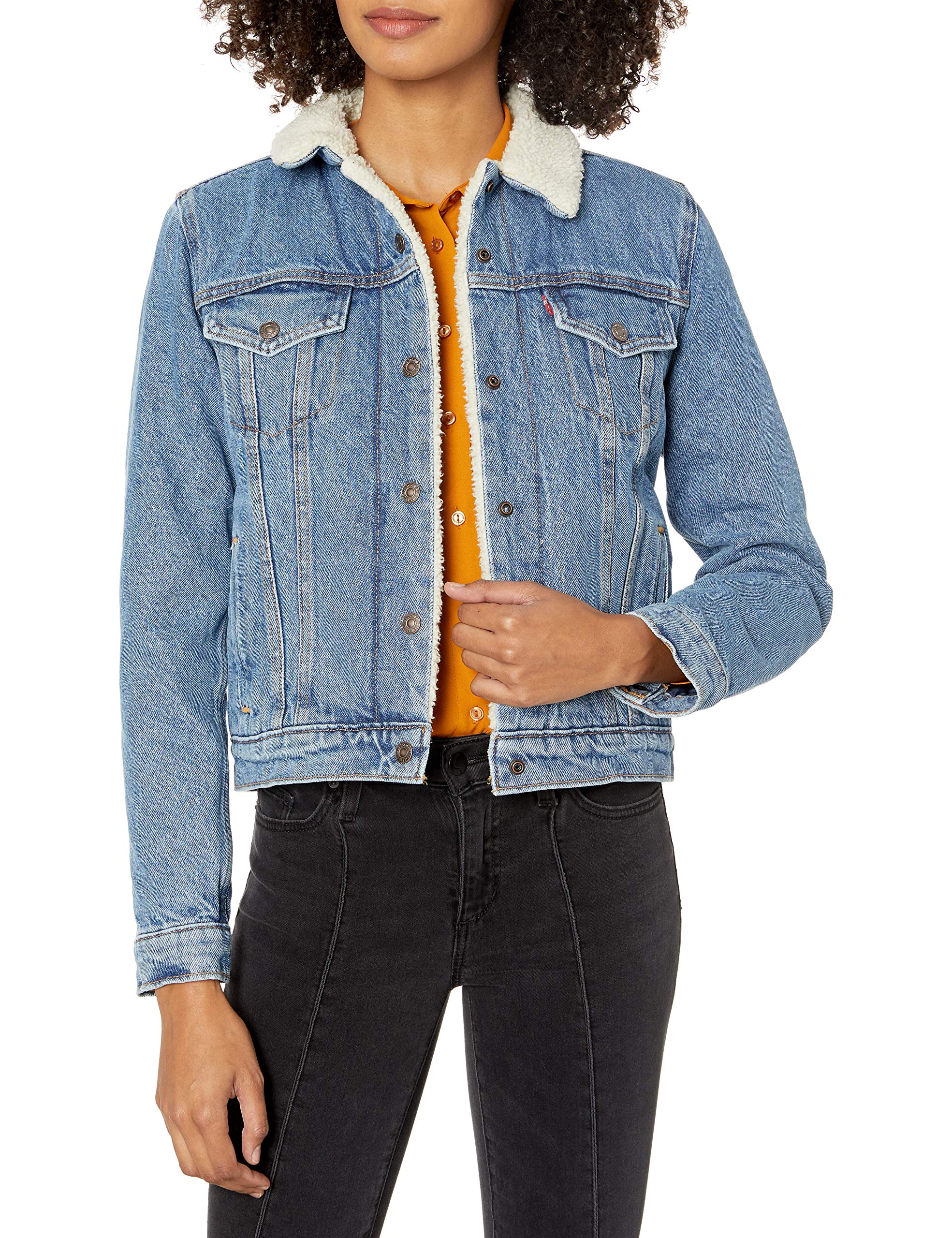 Levi's Women's Original Sherpa Trucker Jackets, Divided Blue, Medium by Levi's