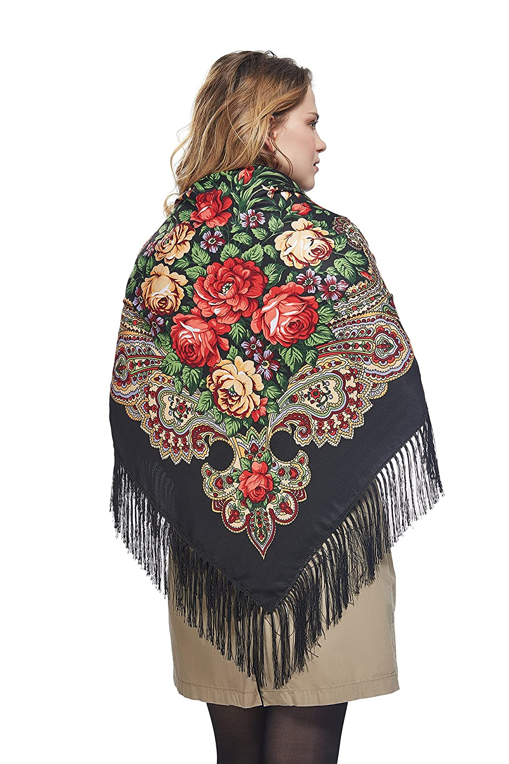 1920s Style Shawls, Wraps, Scarves Ladies Oversized Floral Shawl With Tassels Ukrainian Polish Russian Wrap 51 x 51