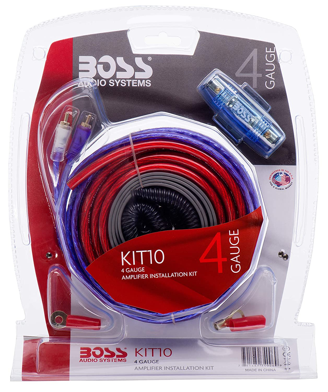 BOSS Audio KIT10 4 Gauge Amplifier Installation Wiring Kit – A Car  Amplifier Wiring Kit Helps You Make Connections and Brings Power to Your  Radio, ...