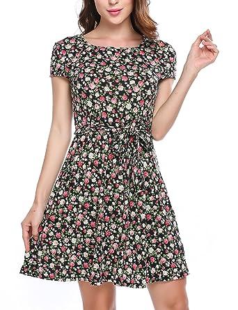 9ee1807d46c667 Zeagoo Elegant Damen Sommerkleid Vintage Blumen Kleid Partykleid Jerseykleid  A-Linie mit Gürtel Schwarz S