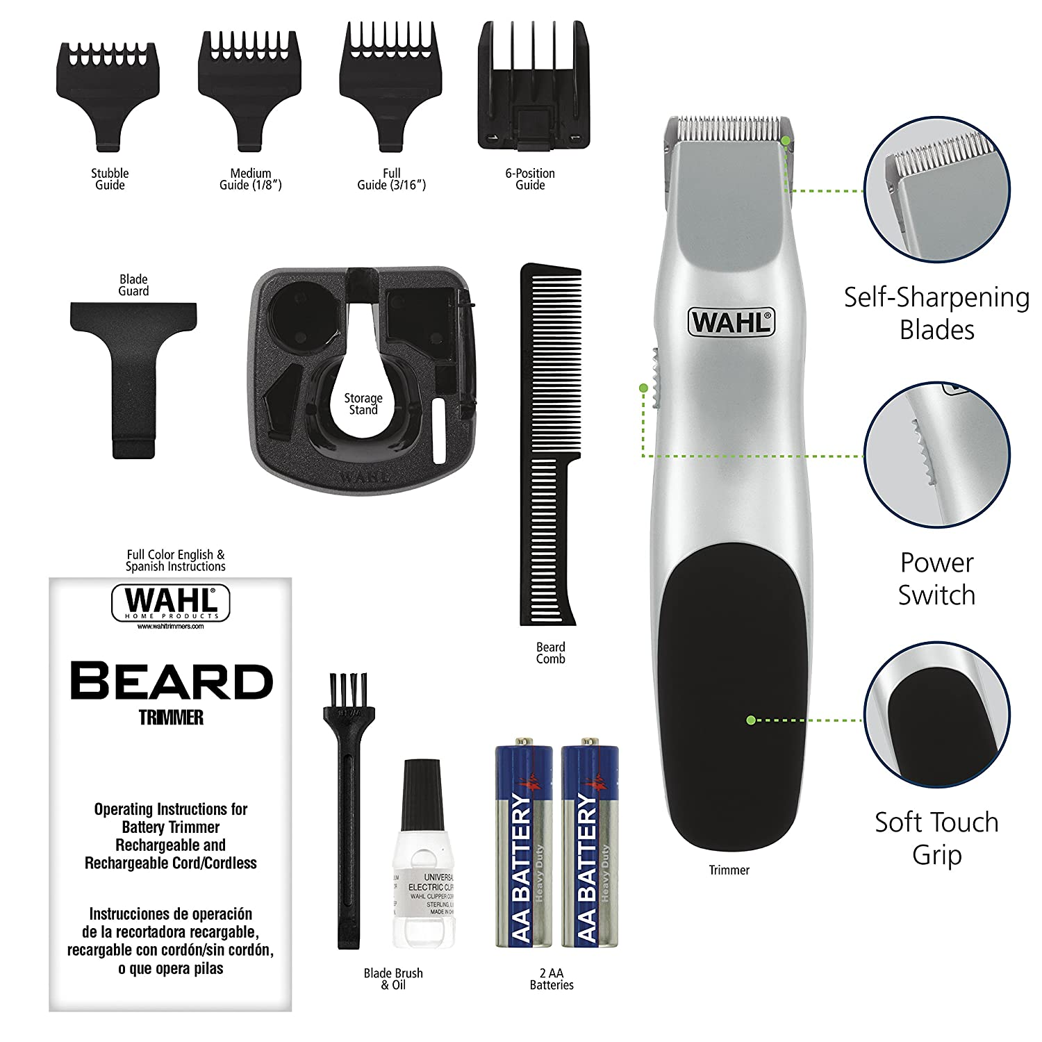 Men's Beard & Mustache Trimmer - Battery Operated (Batteries included in Kit)