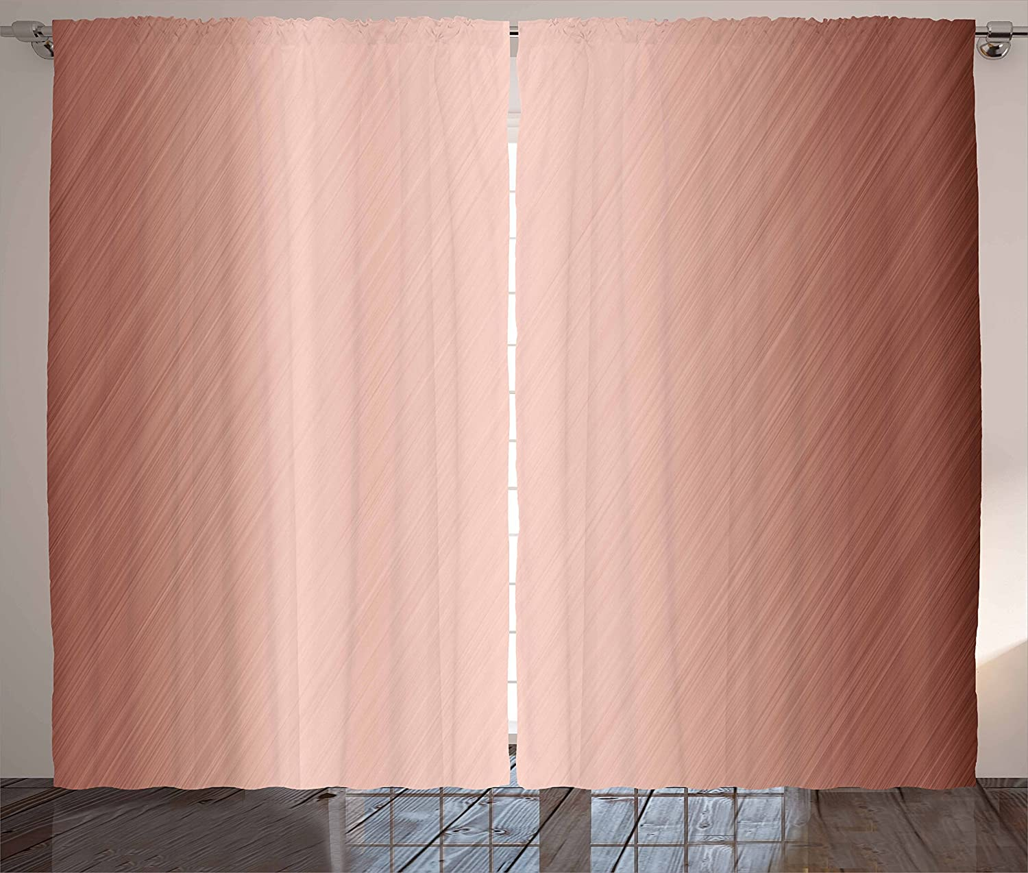 Ambesonne Abstract Curtains, Abstract Smooth Surface Image Diagonal Lines with Ombre Details, Living Room Bedroom Window Drapes 2 Panel Set, 108
