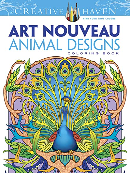 Dover Creative Haven Art Nouveau Animal Designs Coloring Book Adult