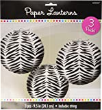 """Traditional Hanging Wild Zebra Print Round Lantern Party Decoration, Paper , 9"""", Pack of 3"""