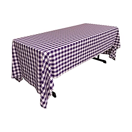 High Quality LA Linen Checkered Tablecloth, 60 By 126 Inch, Purple
