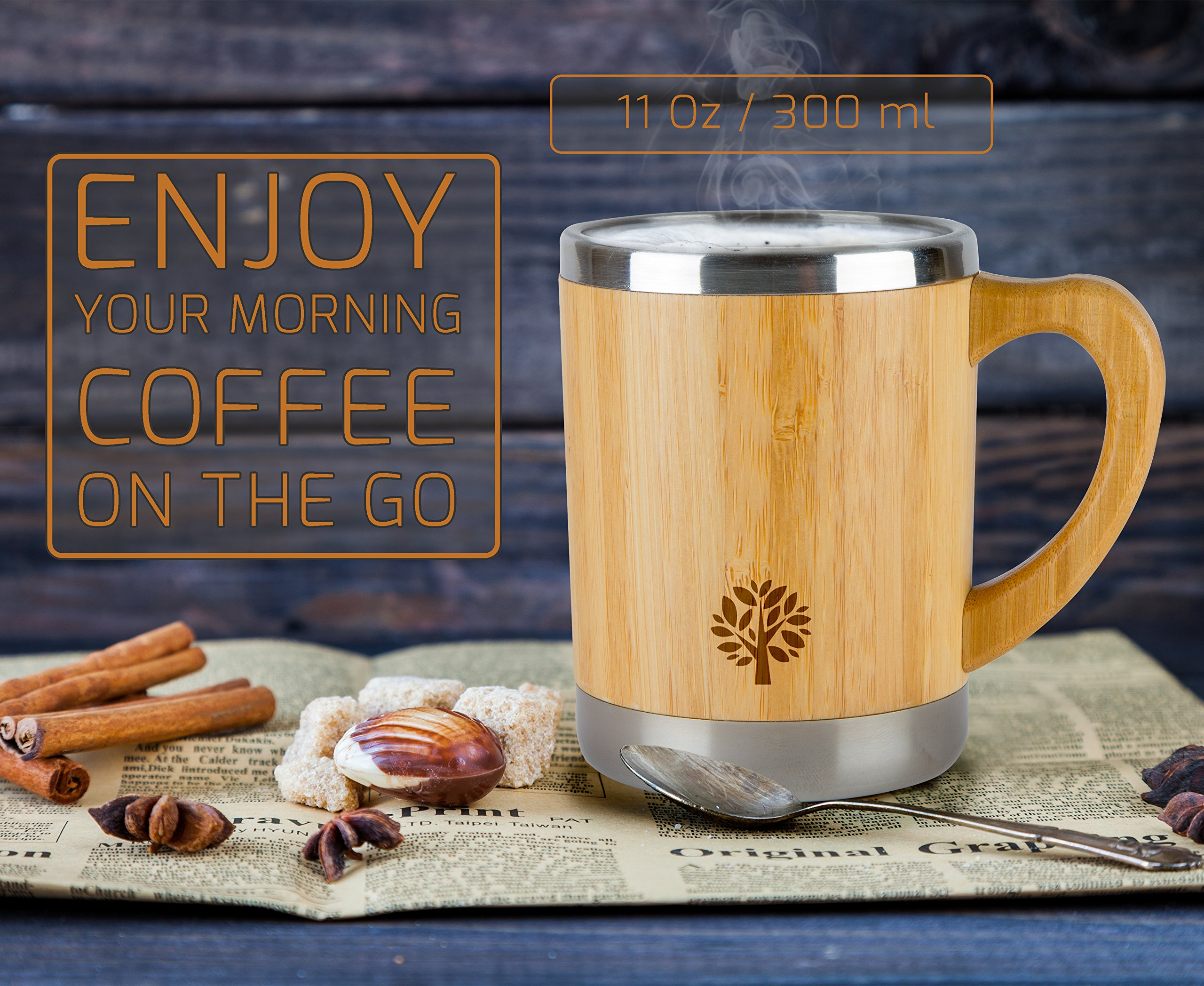 Stainless Steel & Bamboo Coffee Mug - Insulated Wooden Cup with Handle & Lid - Non-Spill On the Go - Keep Your Tea Hot Longer - Unique Gift for Men & Women - 11 oz / 300 ml by JJecommUS (Image #3)
