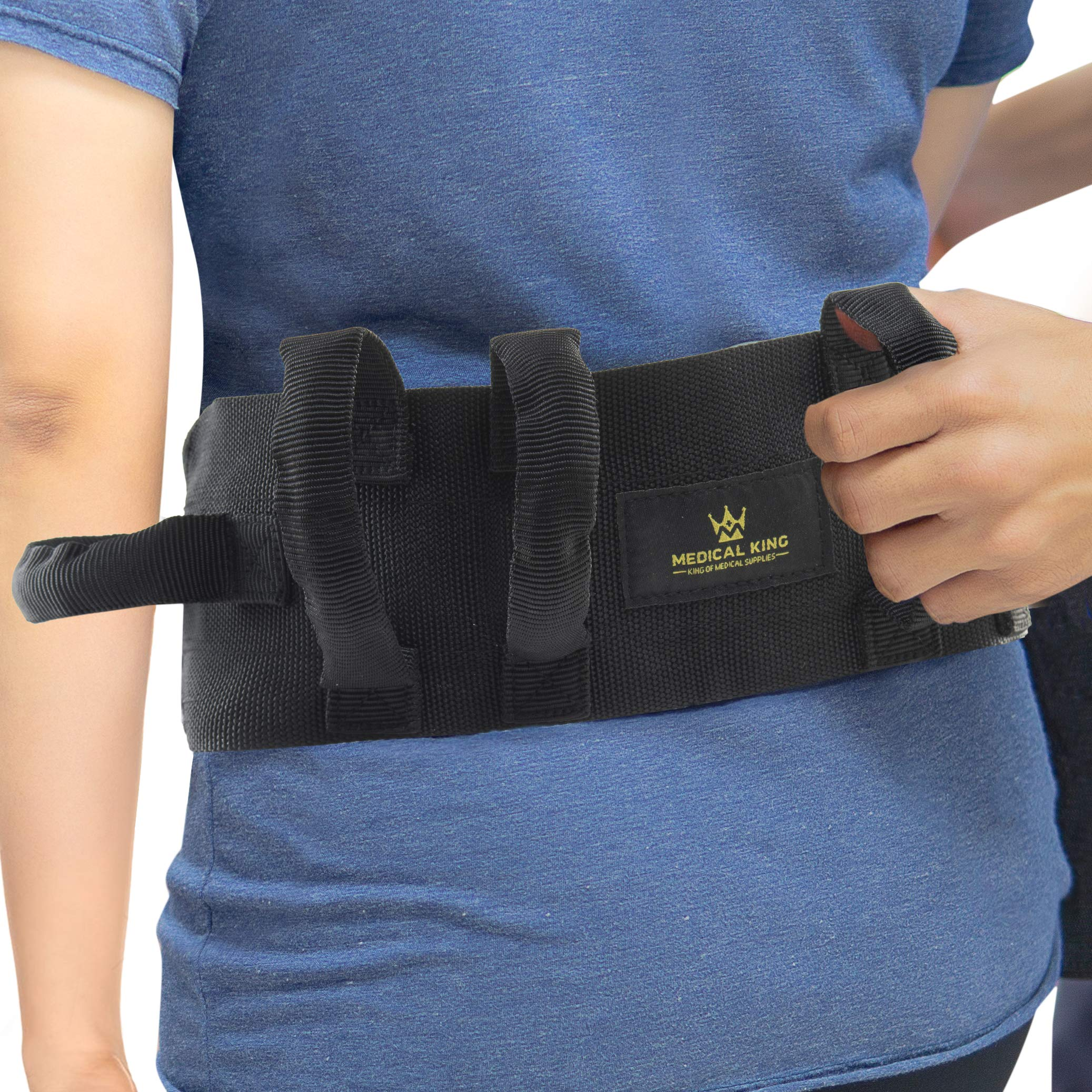 """Transfer Belt Fle to unlock - 55"""" holds up 500 LBS - or Lifting Seniors - Gait Belt With 6 Handles - Great lift belt for elderly, therapy, handicap etc. walking and standing - easy buckBy medical king"""