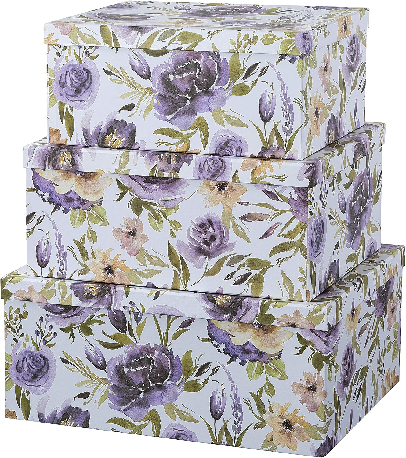 Soul & Lane Decorative Storage Cardboard Boxes with Lids | Purple Passion - Set of 3 | Floral Paperboard Nesting Boxes