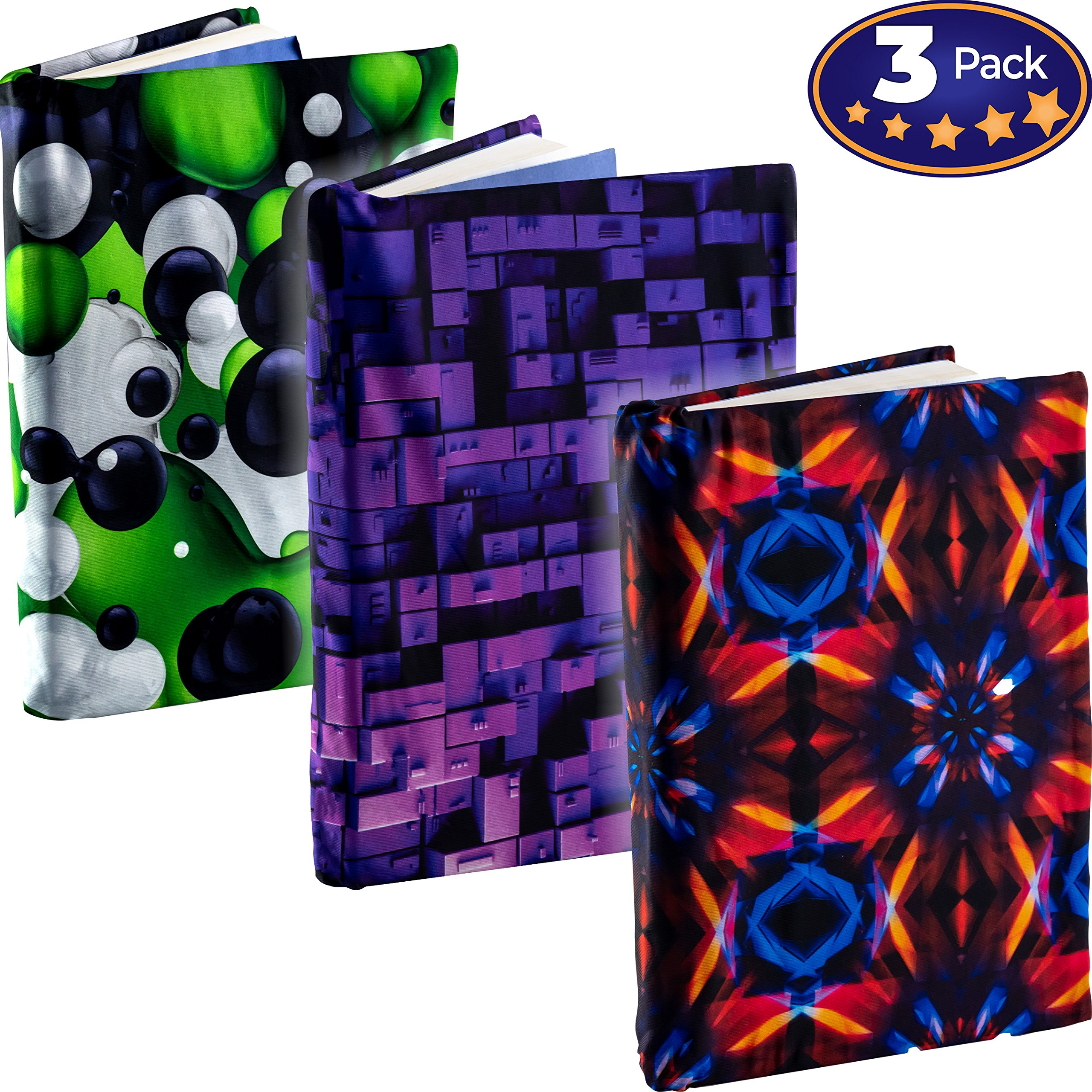 Jumbo, Stretchable Book Cover Geometric Shape 3 Pack. Fits Most Hardcover Textbooks Up to 9 x 11. Adhesive-Free, Nylon Fabric Protectors Are A Needed School Supply For Students Washable and Reusable by Eucatus (Image #1)