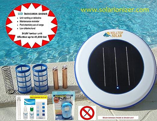 Solar piscina Purificador/ionizador Solar (14.0 V -4.5 X más eficiente) con indicador LED y comprobador
