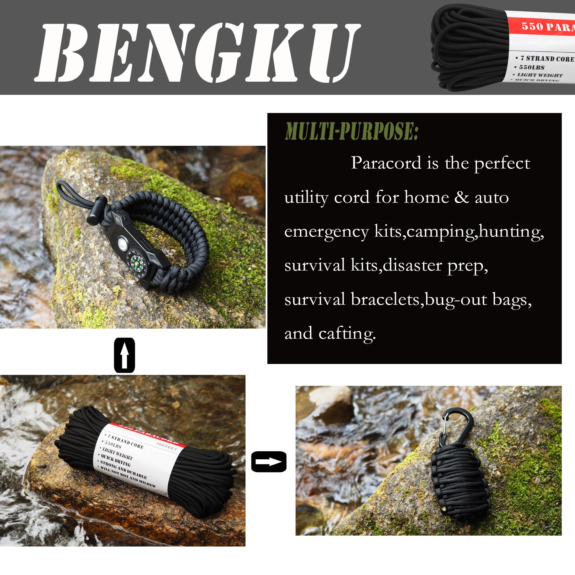 BENGKU Outdoor Survival Mil-SPEC 550lb Paracord/Parachute Cord(MIl-C-5040-H),50Feet,100% Nylon. (Black, 50) by BENGKU (Image #4)