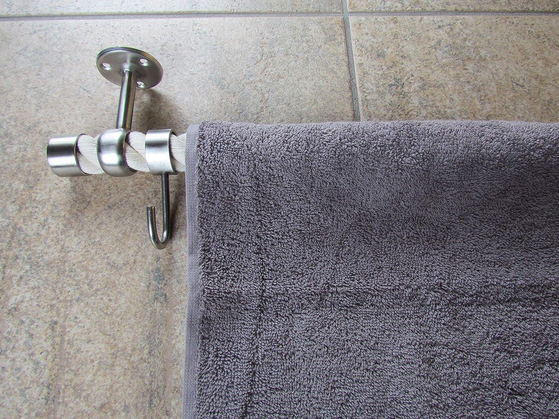 Handtuchhalter Seil naturwei/ß und beige Handtuch G/ästetuch Edelstahl Haken Badezimmer Toilette Bad Handtuchstange maritim