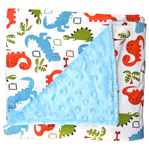 Unique Baby Trendy Blanket with Straight Edges Dinosaur Print Blue