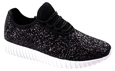 2811b454683f Asushoes Womens Forever Link Remy-18 Black Lace up Glitter Fashion Sneaker  w Elastic Tongue