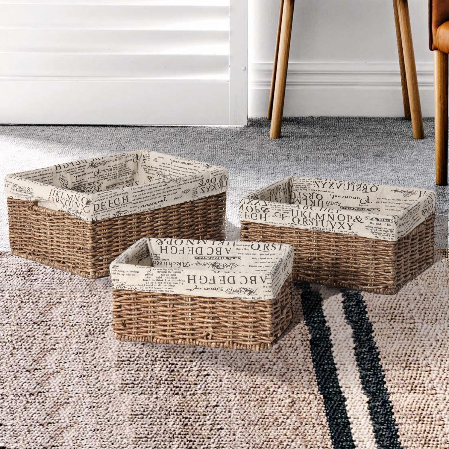 Adeco Multi-Purpose Woven Baskets with Newspaper Print Lining Home Decor, Set of 3 by Adeco