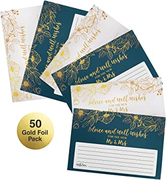Dessie 50 Gold Foil Wedding Advice Cards For The Bride /& Groom