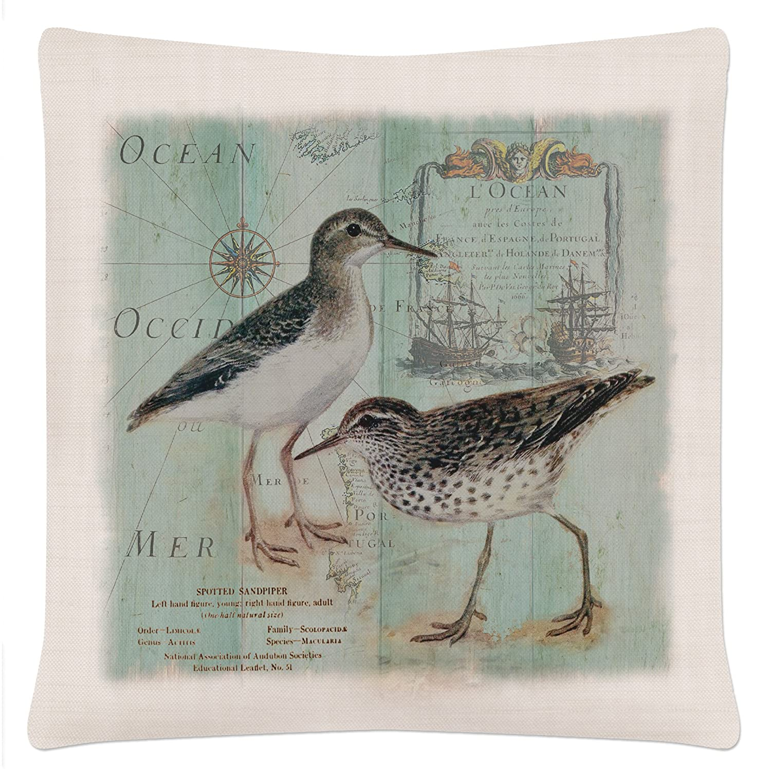 Heritage Lace Shorebirds Coastal Collage 18' X 18' Oyster Pillow