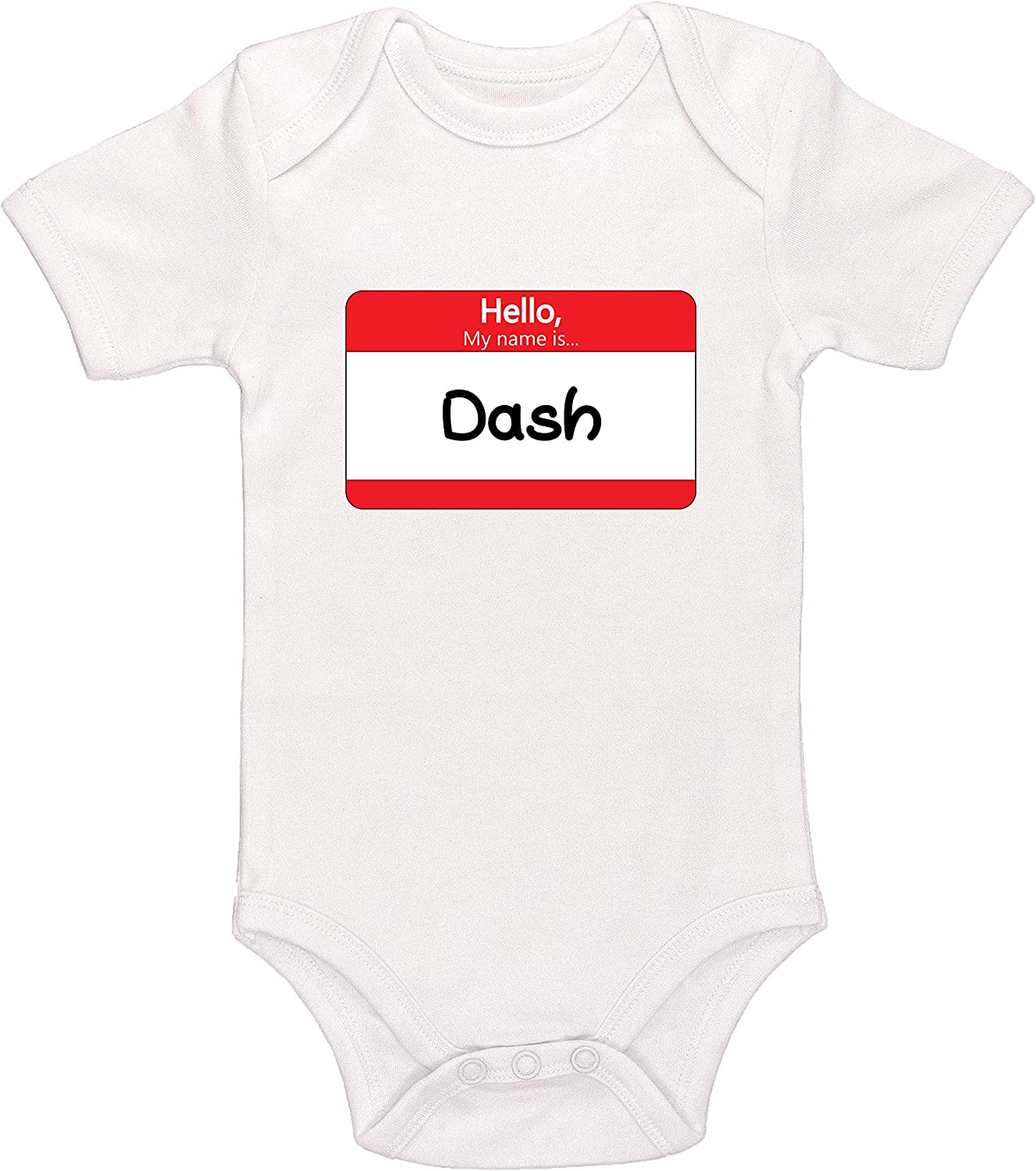 Kinacle Hello My Name is Dash Personalized Baby Bodysuit