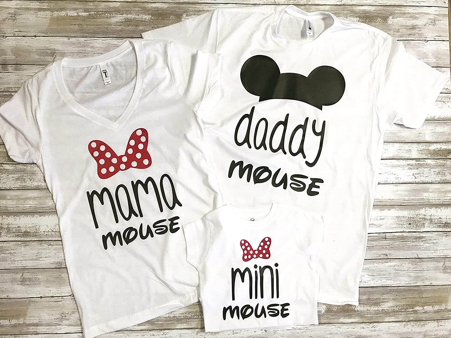 Mother and daughter set. Mama mouse and Mini Mouse white t-shirts set