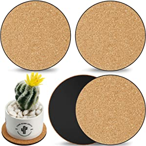 Cork Plant Round Mat Round Cork Plant Coasters for Drinks Absorbent,Garden, Courtyard, Pot Mat, Indoor and Outdoor Pots, and DIY Craft Project, 4 Inch (4 Pieces)