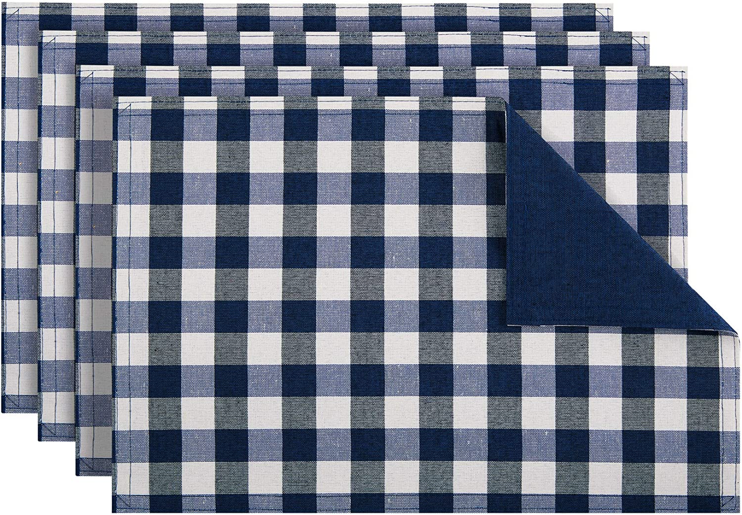 Achim Home Furnishings Buffalo Check Reversible Placemat, Navy, Set of Four