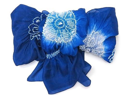 1d6f51afdb6cbd Amazon   兵児帯 こども 絞り 正絹 男の子 女の子 浴衣 帯 へこ帯 三尺帯 3m「青」 yu HKOB-326   着物・浴衣 通販