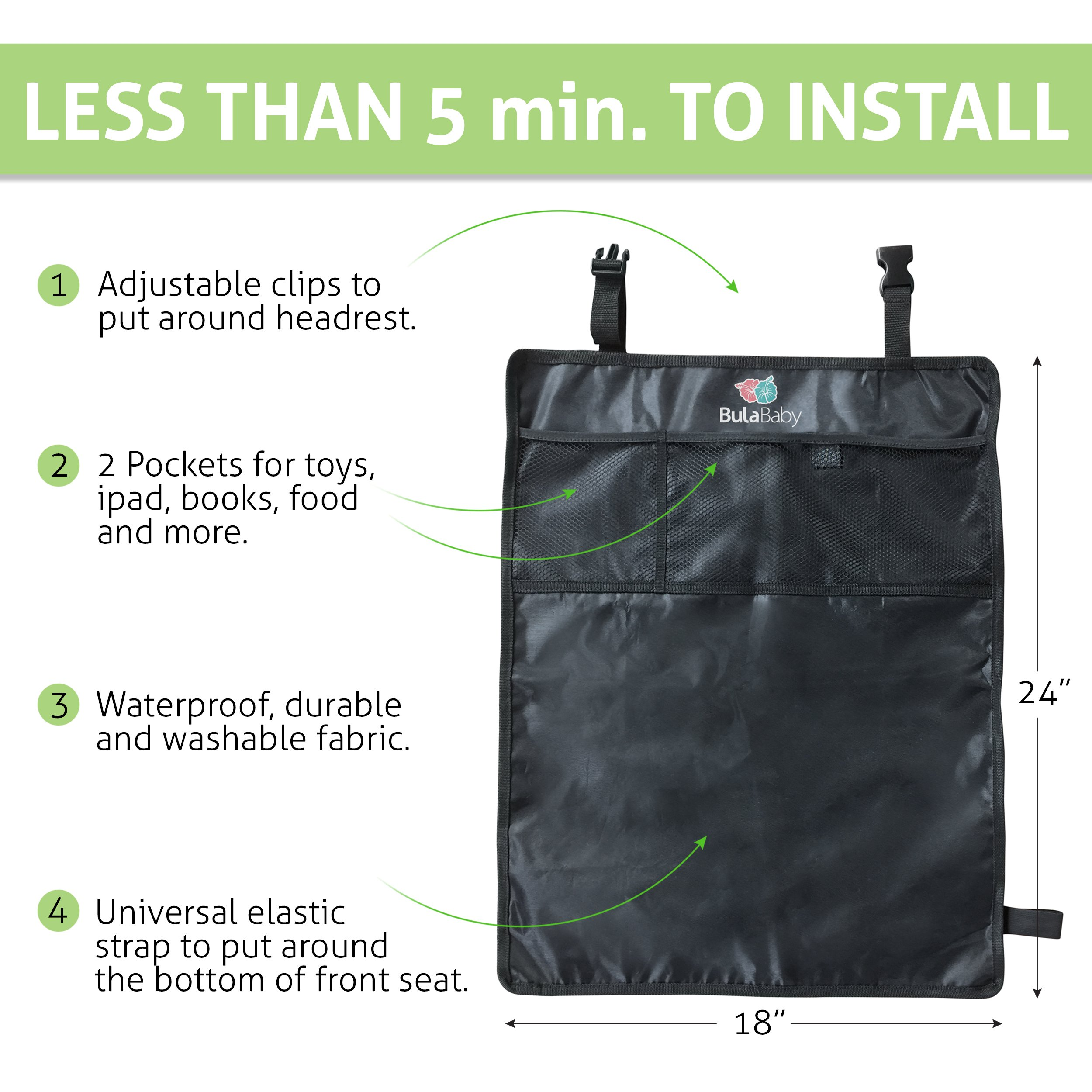 Bula Baby - Back of Seat Protector - 2 Count - Complete With Pocket Organizer by Bula Baby (Image #4)