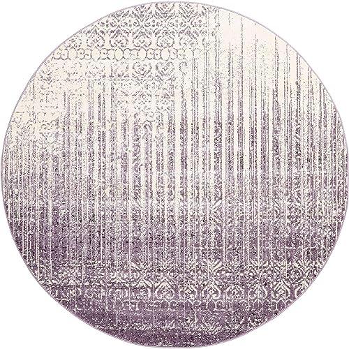 Unique Loom Del Mar Collection Contemporary Transitional Purple Round Rug 8 0 x 8 0