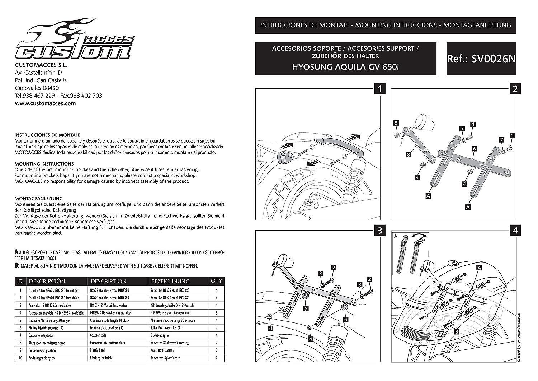 Customacces AZ0379N Alforjas Rígidas Touring (Juego) 33L. + Kit de Soportes HYOSUNG GV650 Aquila (GV-650) 05-11: Amazon.es: Coche y moto