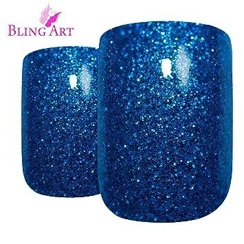 Amazon Bling Art False Nails French Fake Blue Gel Glitter