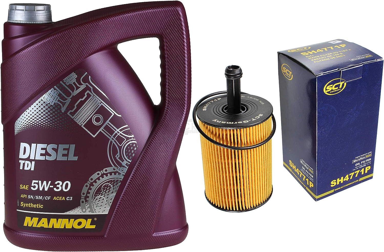 Filter Set Inspektionspaket 5 Liter Mannol Motoröl Diesel Tdi 5w 30 Api Sn Cf Sct Germany Ölfilter Auto